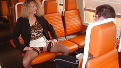 Virgin boy and amateur milf in train