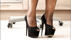 Black stiletto shoes. girl and shoes.