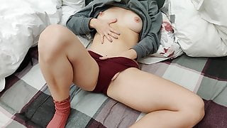 She wants to feel my cum on her belly so much