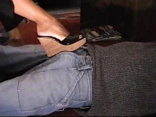 Highheel shoejob fetish Cumshot and shoejob under black wedge mule