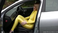 Natalie Wears Her New Catsuit
