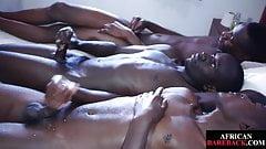 Black twinks cumming after bareback threesome