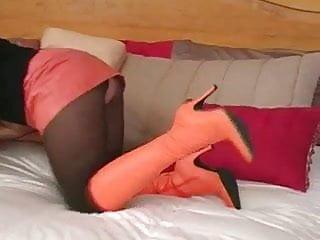 Orange bra porn - 3-11-14 blondie orange boots and black pantyhose