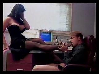 Breast fetishism - Big breasted brunette and stud foot fetish