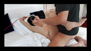Daniella tied and blindfolded, guy fucks her and she swallows cum