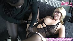 German blonde milf teacher with glasses in nylons and bbc