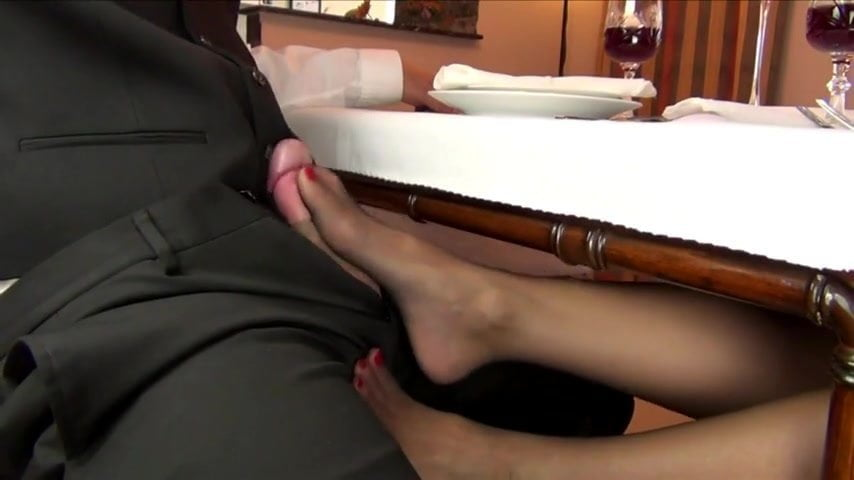Hot Footjob Under Table