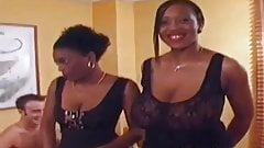 Black chicks gets covered in cum and assfucked