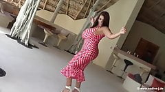 BUSTY BABE HOT SALSA DANCE AND BOOBS SHOW