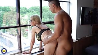 Nerdy MILF takes one coffee and one big cock