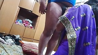 Indian Bhabhi relaxing her husband by giving him a slow blowjob