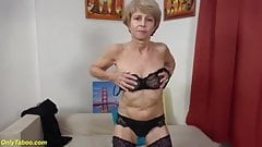 Skinny granny toying her shaved cunt