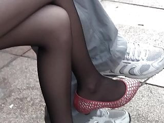 Sheer lycra fetish Candid teen legs and feet in sheer black nylons