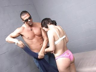 Beautiful brunette stroking pussy - Beautiful brunette prisoner hets hard anal and creamy finale