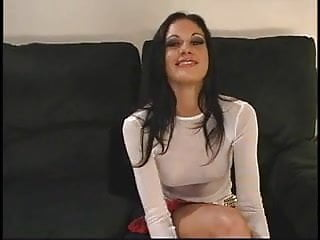 Threesome on the couch - Sultry brunette puma withstands severe double cocking on the couch