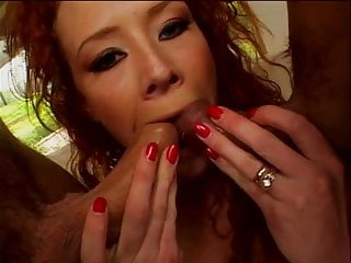 Cum head red sucking - Hot red head sucks two hard cocks at once and gets dped