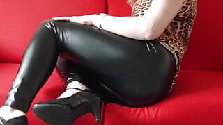 Smooth Shiny Wetlook Leggings and Shaved Post op Trans Pussy