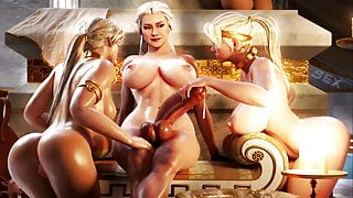 Dominant Shemale MILF fucks two Girls: 3D Pussy Anal Creampie