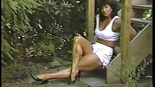 Joanne McCartney - white deux piece, on the steps