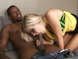 Long blonde milf - Hot blonde in glasses makes love to black studs long hard cock
