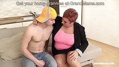 Redhead German granny fucked nephew with her big tits