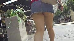 upskirt brunette thick legs and jeans skirt