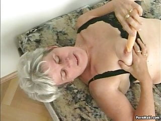Hairy granny video - Hairy granny pussy filled with younger dick