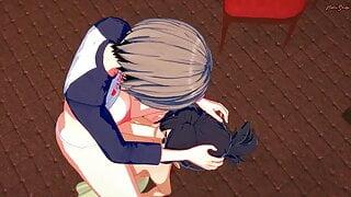 Ami Asai gives futa Uzaki a blowjob and swallows her cum.