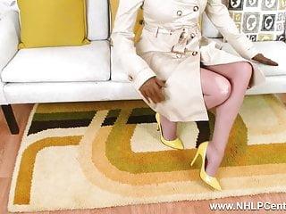 Sheer slingshot suspender bikini - Blonde milf flashing wanking in sheer nylon retro suspenders