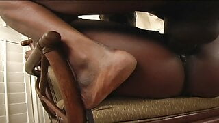 Chocolate brown whore gets her pussy licked and fucked