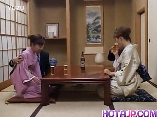 Sex with other couples Japanese milfs sticks cock in her cunt next to other couple