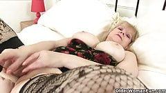 British granny Amanda Degas fucks herself in stockings
