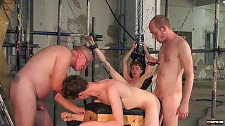 Sub twinks interviewed before bondage and rough bareback