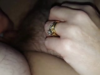 Handjob hairy pussy A small cumshot on her soft hairy pussy
