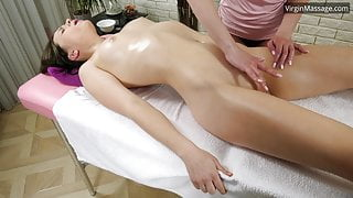 Russian babe Adelyn Abbe gets her massage orgasm