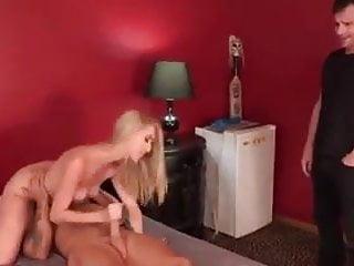 Cum licking blonde - Cuckold licking up cum