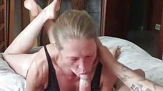 Perfect deepthroat blowjob showing off her feet, facial