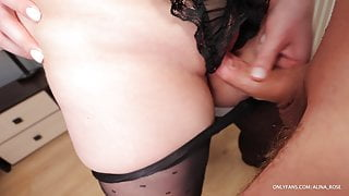Rubbed pussy and cum in her pantyhose, then put them on