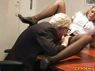 Old blonde handjob Cfnm femdom blonde jerks off old dude