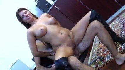 Big tit gal reverse cowgirl ride