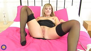 Sexy mature mom from UK home alone