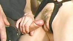 close up as cock cums on pussy