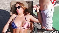 Busty Bikini MILF Gets Served a Dick On a Bun at July 4 BBQ
