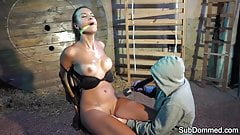 Bound sub gagged and toyed by maledom