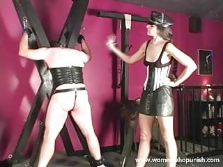 Spanked with a cracker barrel paddle Submissive slave spanked with paddle