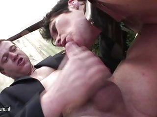 Cum full young - Old granny gets a mouth full of young cum
