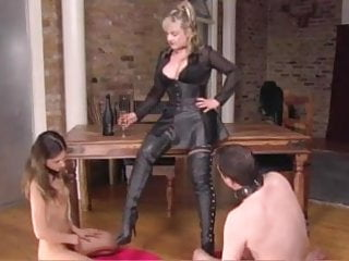 Aryan nazi boots kike fetish Pussy juice and cum on her boots