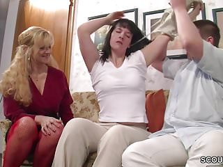 Daddy fucks young daughter and friend - German mom teach step-daughter and friend to fuck