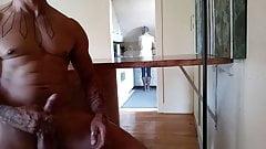 Cfnm dickflash to stepmom and masturbate while she cooks