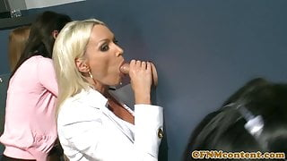 CFNM  babes cocksucking at gloryhole party